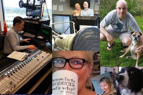 Collage of radio producers and host at work.
